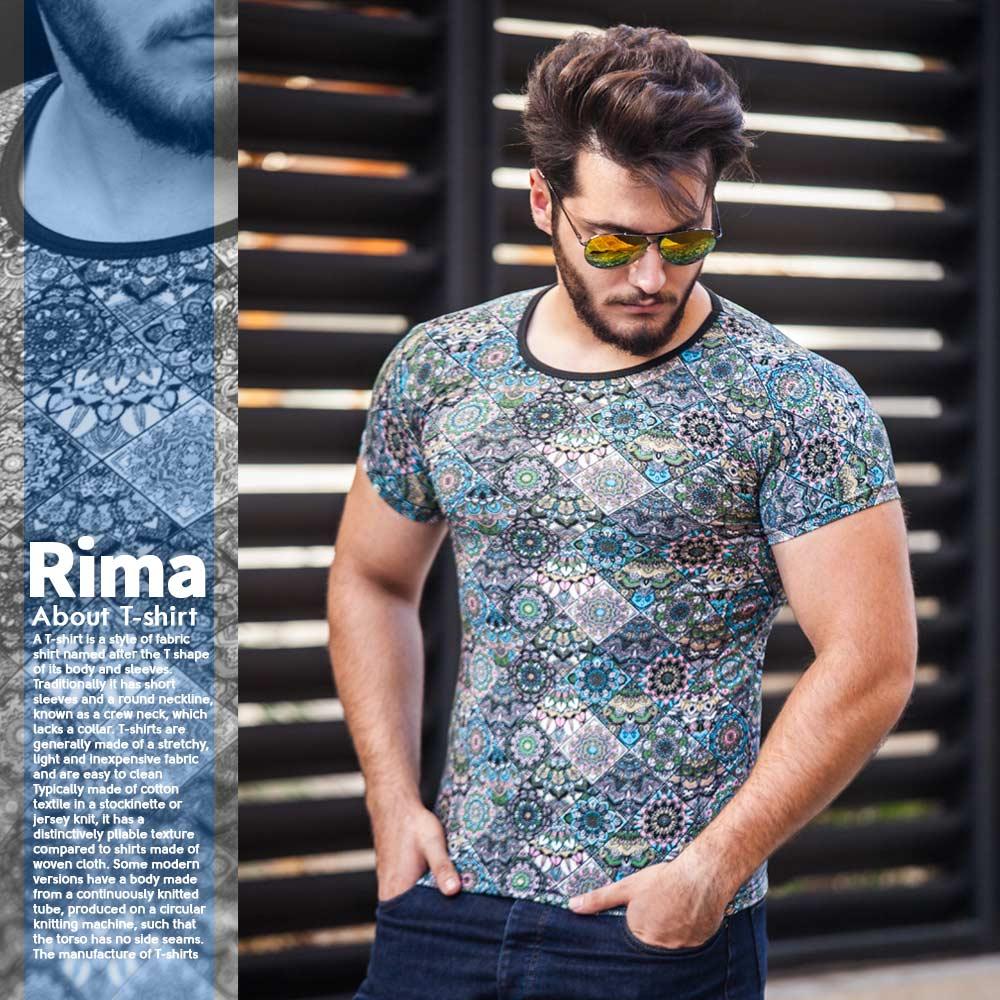 تیشرت مردانه هاوایی مدل Rima(آبی)