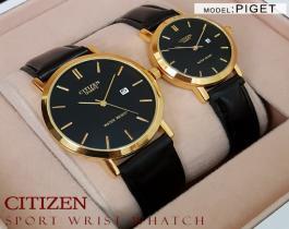 ست ساعت مچی مردانه و زنانه Citizen مدل Piget ( طلایی)
