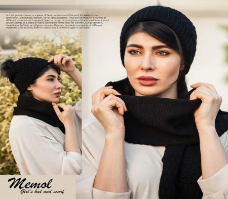 ست کلاه و شال گردن دخترانه  Memol (مشکی)