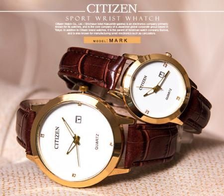 ست ساعت مچی Citizen مدل Mark ( بند قهوه ای)