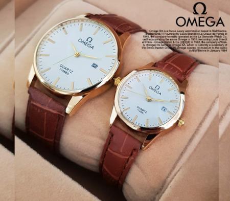 ست ساعت مچی مردانه و زنانه مدل Omega مدل Exel -