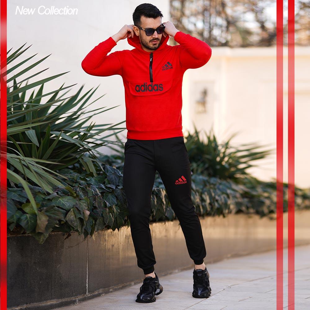 ست سویشرت و شلوار adidas مدل silence(قرمز)