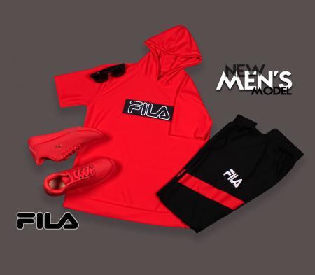 ست تیشرت شلوار کلاه دار Fila مدل chikom (قرمز)